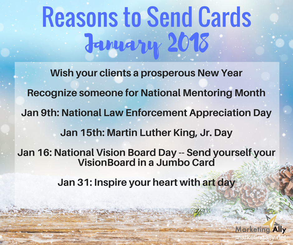 January Reasons to Send Cards | Marketing Ally